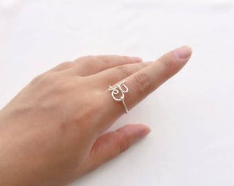 Custom Initial ring, gold initial jewelry, silver letter B ring, name ring, personalized ring, bridesmaid gift, wedding gift, birthday gift