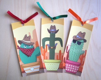 Set of 3 bookmarks Cactus with ribbons