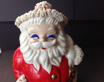 Vintage Santa Claus Bank Spaghetti Trim Gold Bell 1950s Blue Eyed Santa Japan