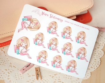 Kawaii Girl Reading a Book Decorative Stickers ~Valerie~ For your Life Planner, Diary, Journal, Scrapbook...