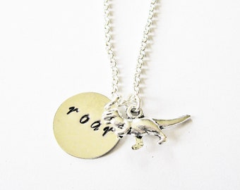 T-Rex Necklace, TRex Necklace T Rex jewelry, Dino Necklace, Roar Necklace silver, Dinosaur Necklace, Animal Necklace, Tyrannosaurus Necklace