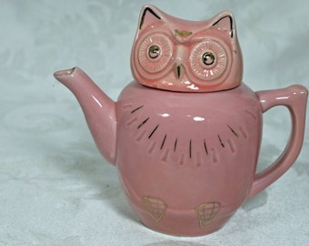 Pink Ceramic Single Serve Owl Tea Pot