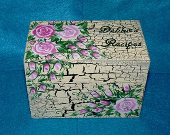 Personalized Recipe Box Shabby Chic Wedding Recipe Card Holder Hand Painted Custom Wood Recipe Box Distressed Pink Roses Bridal Shower Gift
