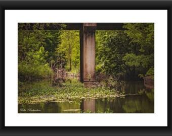 A Fine Art Print of Bridge in Walnut Springs, Texas, Bridge, River, Springs, Photograph