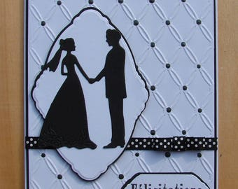 """card """"Feliictations"""" black and white silhouette wedding couple Ribbon"""