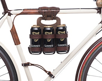 "Bike 6-Pack Holder - ""Bike Beer Combo"" - Leather Wood Bicycle Beer Carrier with Set Discount"