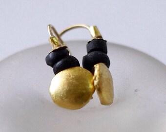 Gold Disc Earrings, Round Gold Earrings, 24k Gold Earrings, Earrings for Women, Black and Gold Earrings, Gold Dangle Earrings, Chic Earrings