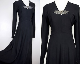 1940s Gown Dress Maxi Wide Sweep Skirt Long Sleeve Black Studded Witch Small Fitted 40s