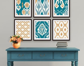 Ikat and Geometric Patterns (Series L) Set of 6 - Art Prints (Featured in Teal and Copper) Blue Ikat Wall Art