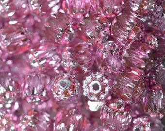 6mm Bright Vivid Pink Cathedral Beads - 15 pcs (2043077)