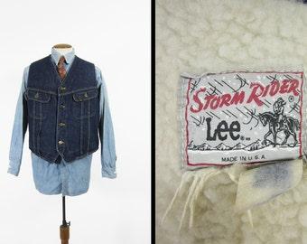 Vintage 70s Lee Storm Rider Vest Sherpa Lined Two Pocket Denim - Size Large