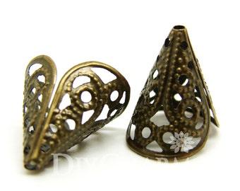 Bronze Tone Bead Cones 16x11mm - 100Pcs - FH25372