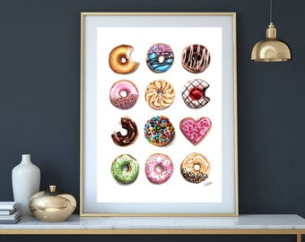 A dozen of donuts print of watercolor painting