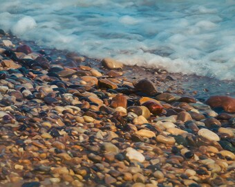 Nature Decor, Beach Decor, Lakeshore, Lake Michigan, Wisconsin, Rocks, Water, Home Decor, Large Wall Art, My Rock