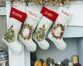 Embroidered Christmas Stockings Heirloom Linen Designer Embellished Christmas Tree Wreath White Ribbon Beads Stocking