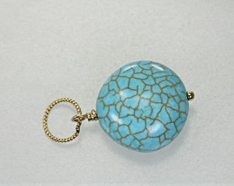 Turquoise Gold-Filled Interchangeable Pendant, Add a Dangle Charm