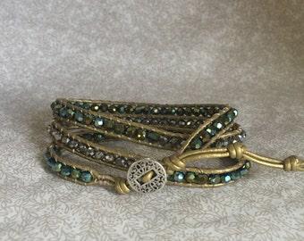 Leather Bead Wrap Bracelet