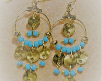 Boho Collection Turquoise Disc Earrings