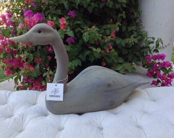 Vintage French Gray Wooden Goose