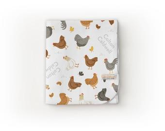 Chicken Blanket / Farm Theme / Farm Nursery - Name Blanket / Swaddle Blanket / Organic Baby Blanket / Organic Swaddle