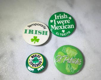 St Patrick's day, St Patricks day pins, lot of 4, St Patricks day pin collection, fun to wear or share!