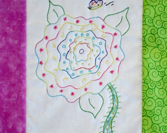 "PDF Stitchery Pattern: ""Butterfly Fancy"" Stitchery Embroidery Whimsical Flower"