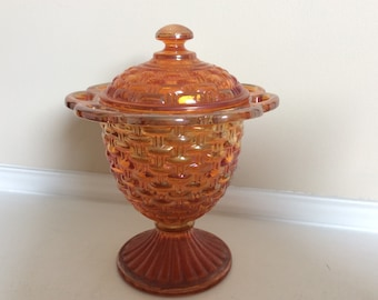 An Imperial Glass Marigold/Carnival Iridescent Handcrafted Pedestal Dish.