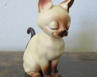 Vintage Josef Original Siamese Cat Sitting Beige and Dark Brown Japan