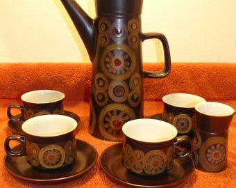 60s British Mod DENBY Arabesque / Samarkand stoneware coffee set SCARCE