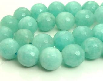 10mm Seafoam Green Jade Faceted Gemstone Beads - 15.5 Inch Strand - BF24
