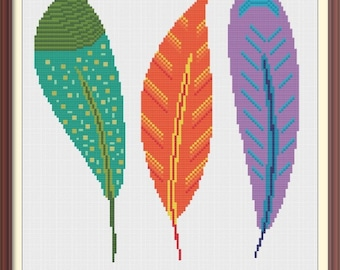 Feathers Modern Cross Stitch Pattern PDF Chart Instant Download Colorful Cross Stitch Pattern in Green, Orange, Purple