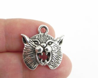 10 Wild Cat Charms in Antiqued Silver - 20mm x 19mm