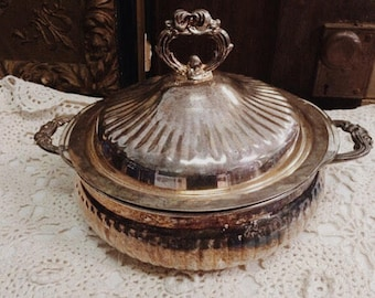 Antique Ornate Silver Covered Dish