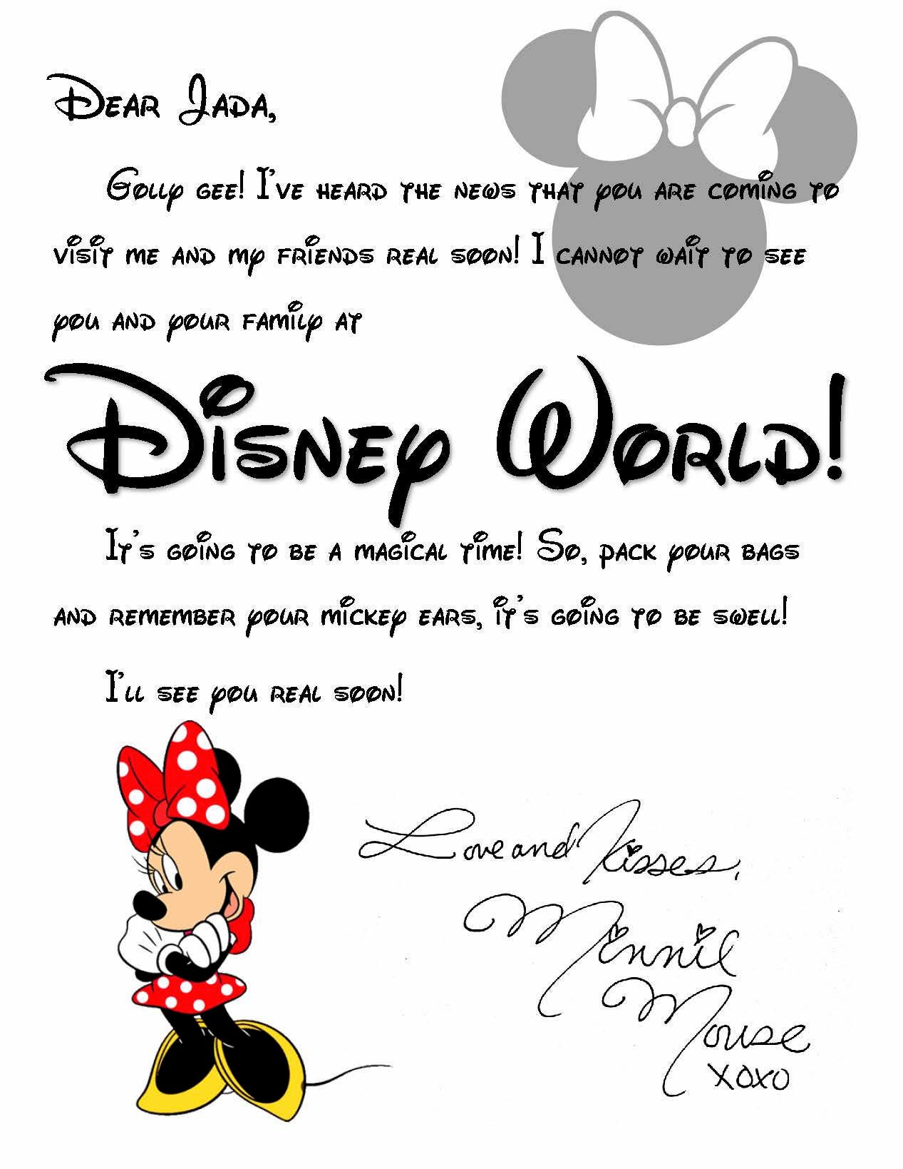 Custom Disney World Letter from Minnie Invitation to Disney