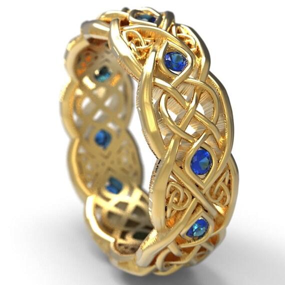 Infinity Wedding Band With Blue Sapphires, Gold Celtic Ring, Unique Wedding Ring, Celtic Wedding Band, 10K 14K 18K Gold Palladium Plat 1052