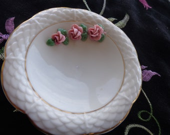 Vintage Dresden Porcelain Trinket or Butter Pat  Dish with Applied Roses - Beautiful piece - tiny chip on back side