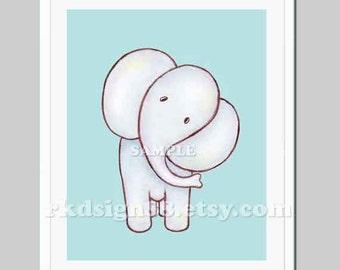 Nursery art print baby nursery decor nursery print baby boy room decor Kids baby elephant painting blue - My Elle 8 x 10 print