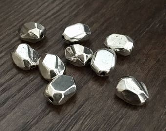 Pewter Silvertone Zamak Style Beads - Irregular Shape - Nice Chunky Size - Unique - Will Make an Interesting Project! - Set of 28
