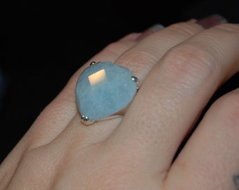 Heart Stone Checkerboard Cut Light Milky Blue Plus Size Vintage Ring #BKC-RNG06