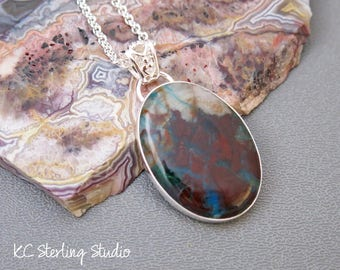 Gem chrysocolla pendant necklace with sterling silver - metalsmith silversmith