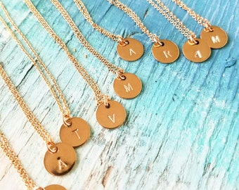 Rose gold initial neckace, bridesmaid gift necklace, bridesmaid jewelry, personalized gift necklace, hand stamped necklace,