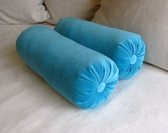 VELVET in bright BLUE  bolster pillows pair 7x20