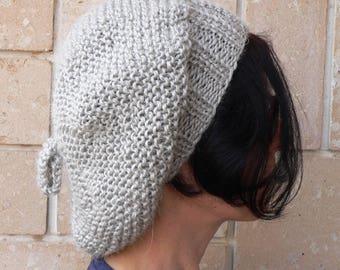 Slouchy Beanie Beret Women Hat Light Gray Alpaca Wool Handknit Beret