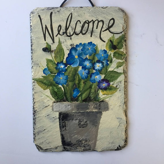 Welcome sign, Blue Flowers welcome sign. welcome slate sign, Front door decor, Garden decoration, Personalized Garden Signs,
