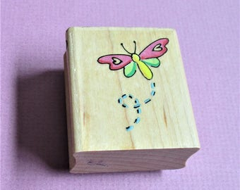 Dragonfly Image Papercraft Rubber Stamp DIY Card Making Stationary Paper Craft Scrapbooking Collage Stamping Supply Bevel Wood Mount