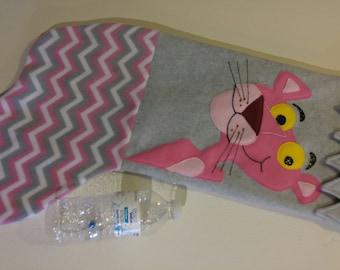 "24"" Handmade Fleece Christmas Stocking- Pink Panther Likeness"