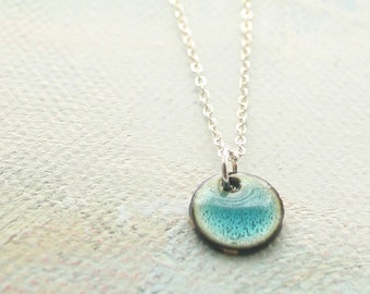 Simple Blue Necklace Tiny Accent Enamel Pebble - Shoreline