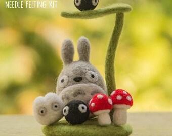 DIY Totoro Needle Felting Kit, My Neighbor Totoro Craft Felting Box, Studio Ghibli, DIY Set
