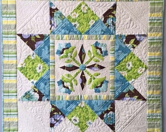 Nancy Rink Spring Market Blue Green Fabric Complete Quilt Wallhanging Kit + Pattern