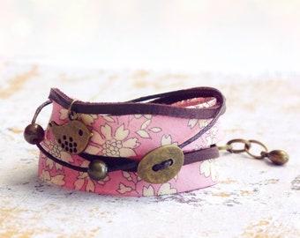 Bracelet Liberty, Bracelet enroulé, Bracelet Liberty original, Bracelet fleuri, Bracelet rose, Bracelet manchette, Livraison gratuite